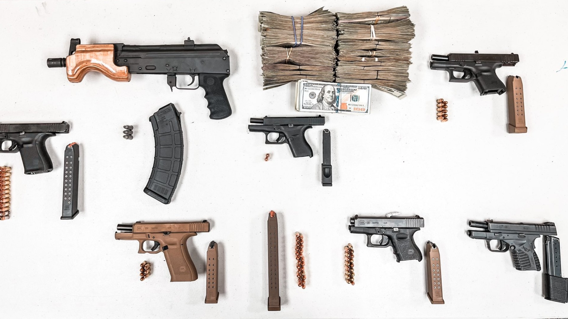LAPD tweeted photos of stolen weapons recovered during a traffic stop in Hollywood on March 4, 2021.