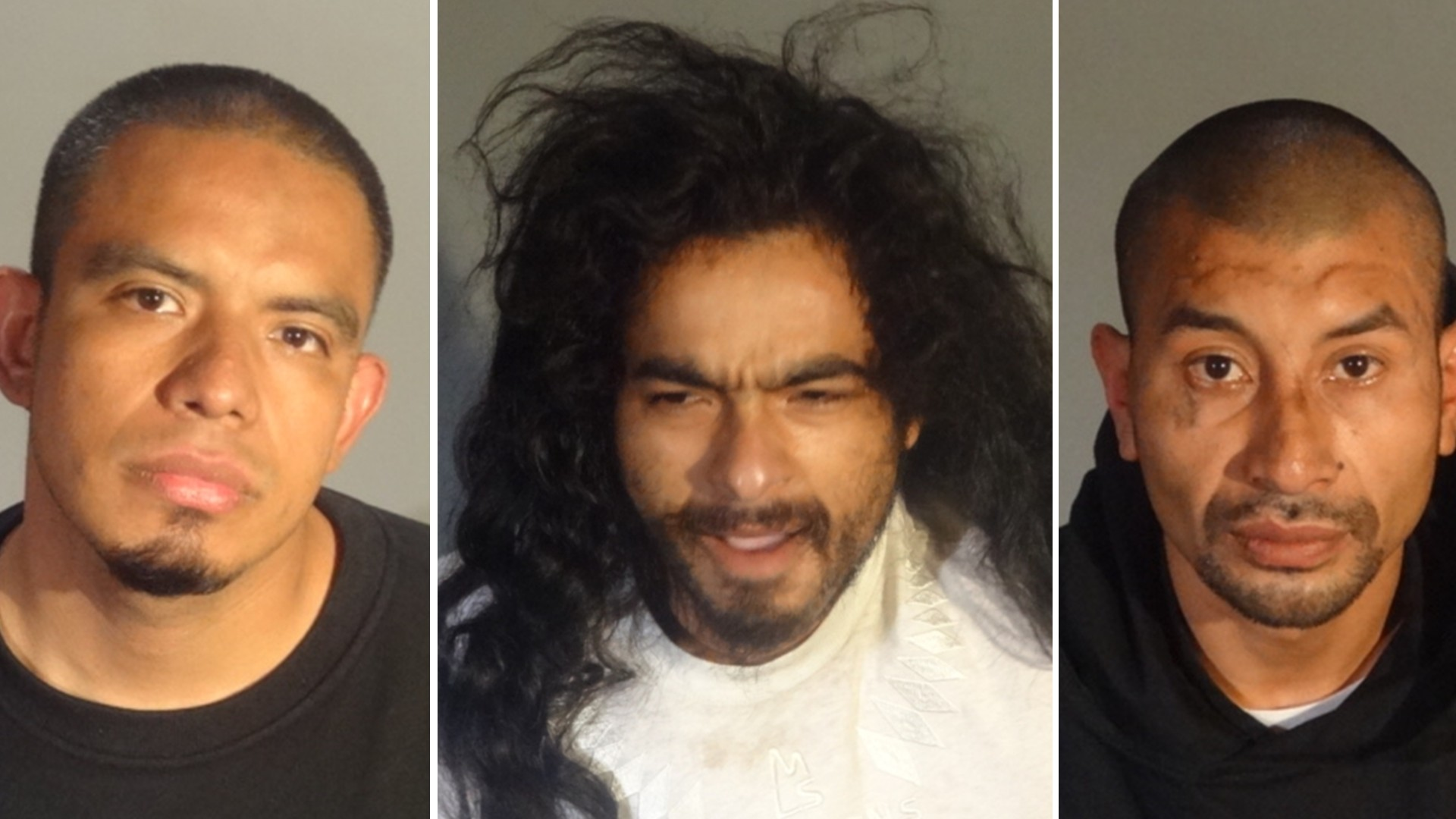 Miguel Eduardo Barrientos, Eduardo Manzo Rangel and Rudy Leonel Barrios are seen in booking photos released by Santa Monica police on March 29, 2021.