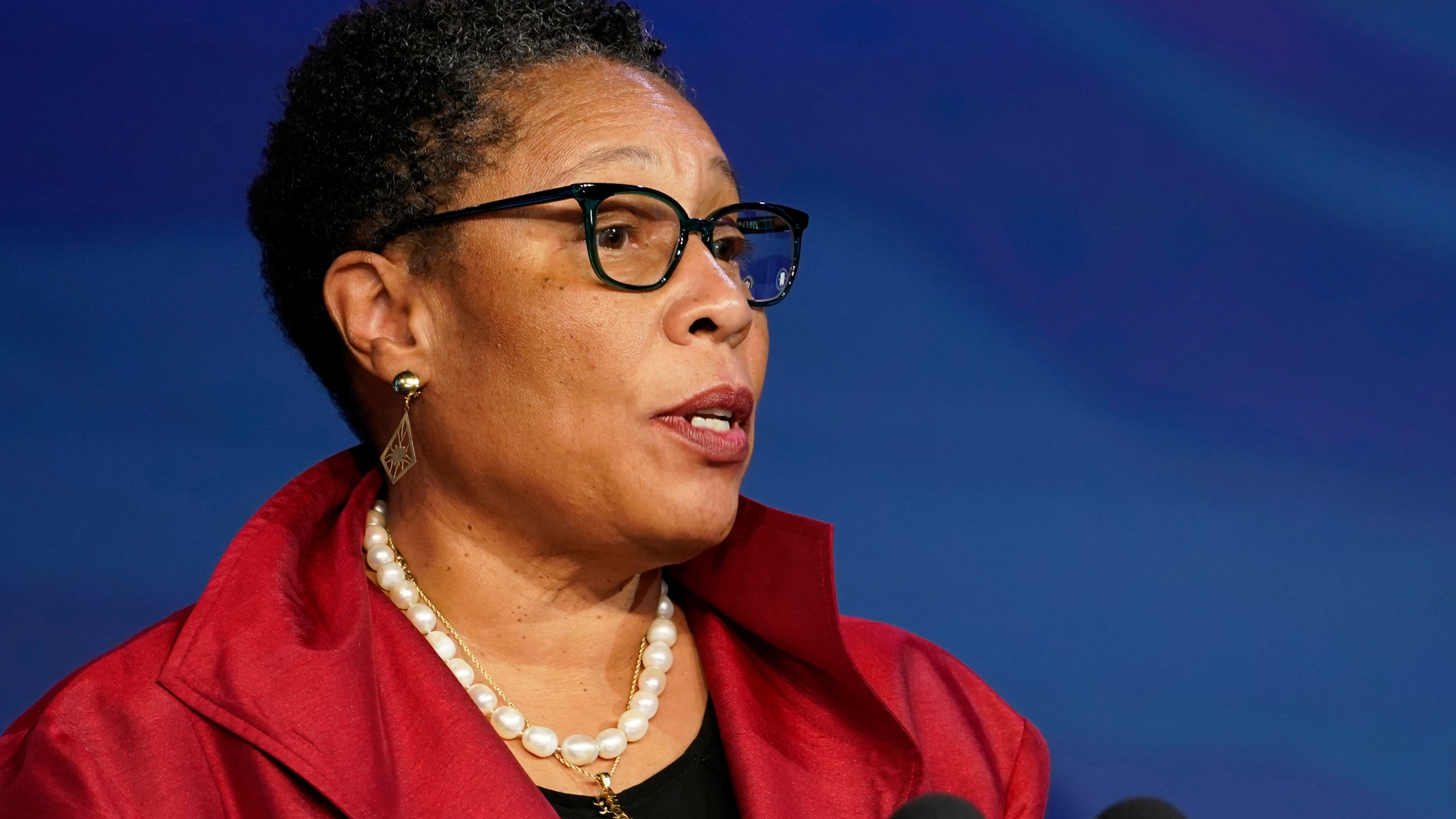 In this Dec. 11, 2020, file photo, then President-elect Joe Biden's nominee for Housing and Urban Development Secretary Rep. Marcia Fudge, D-Ohio speaks during an event at The Queen theater in Wilmington, Del. (Susan Walsh/Associated Press)