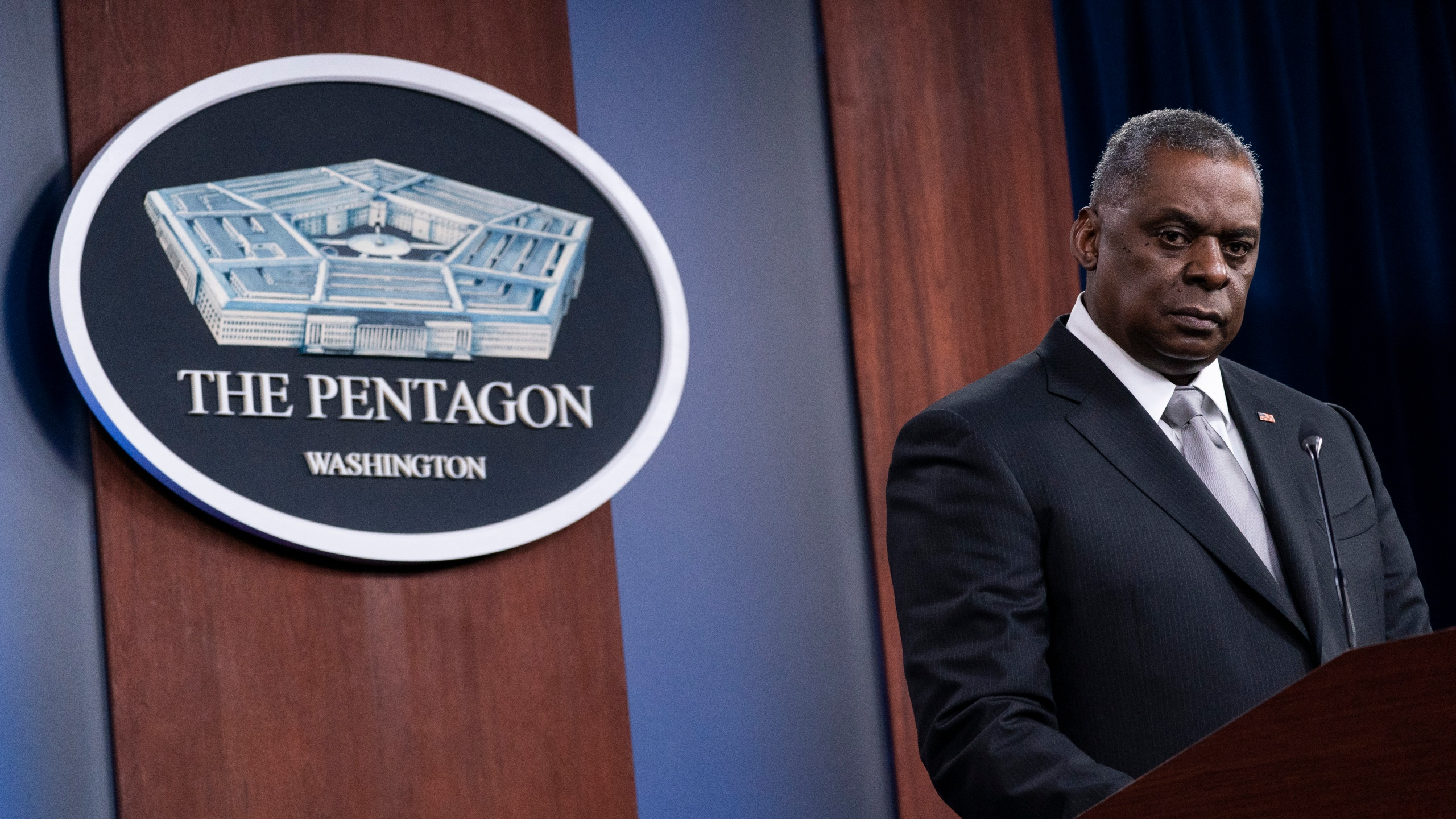 Secretary of Defense Lloyd Austin listens to a question as he speaks during a media briefing at the Pentagon on Feb. 19, 2021. (Alex Brandon / Associated Press)