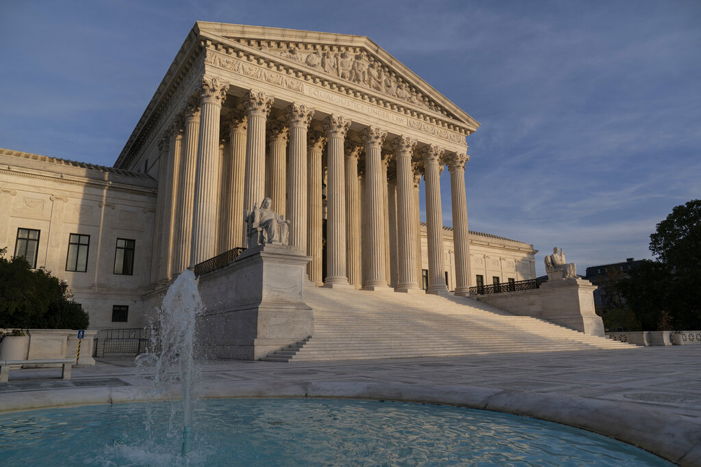 In this Nov. 5, 2020 file photo, the Supreme Court is seen in Washington. (AP Photo/J. Scott Applewhite)