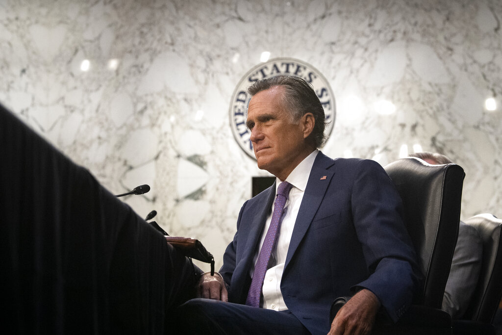 Sen. Mitt Romney, R-Utah, listens during a Senate Health, Education, Labor, and Pensions committee hearing on Capitol Hill in Washington on Thursday, Feb. 25, 2021. (Caroline Brehman/Pool via AP)