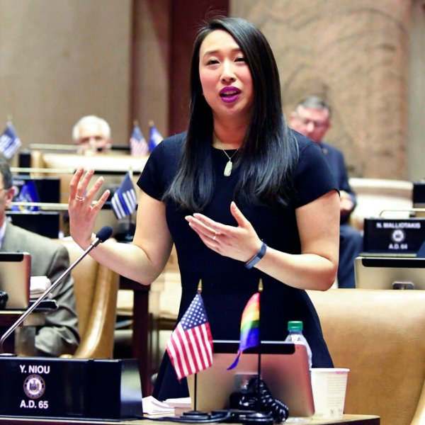In this Jan. 28, 2019 file photo, Assemblywoman Yuh-Line Niou, D-Manhattan, speaks in the Assembly Chamber at the state Capitol, in Albany, N.Y. (AP Photo/Hans Pennink, File)