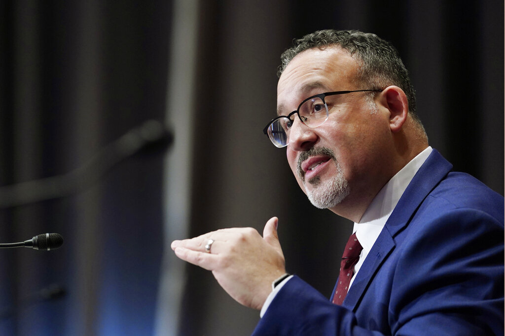 Miguel Cardona testifies before the Senate Health, Education, Labor and Pensions committee during his confirmation hearing on Capitol Hill on Feb. 3, 2021. (Susan Walsh / Associated Press)