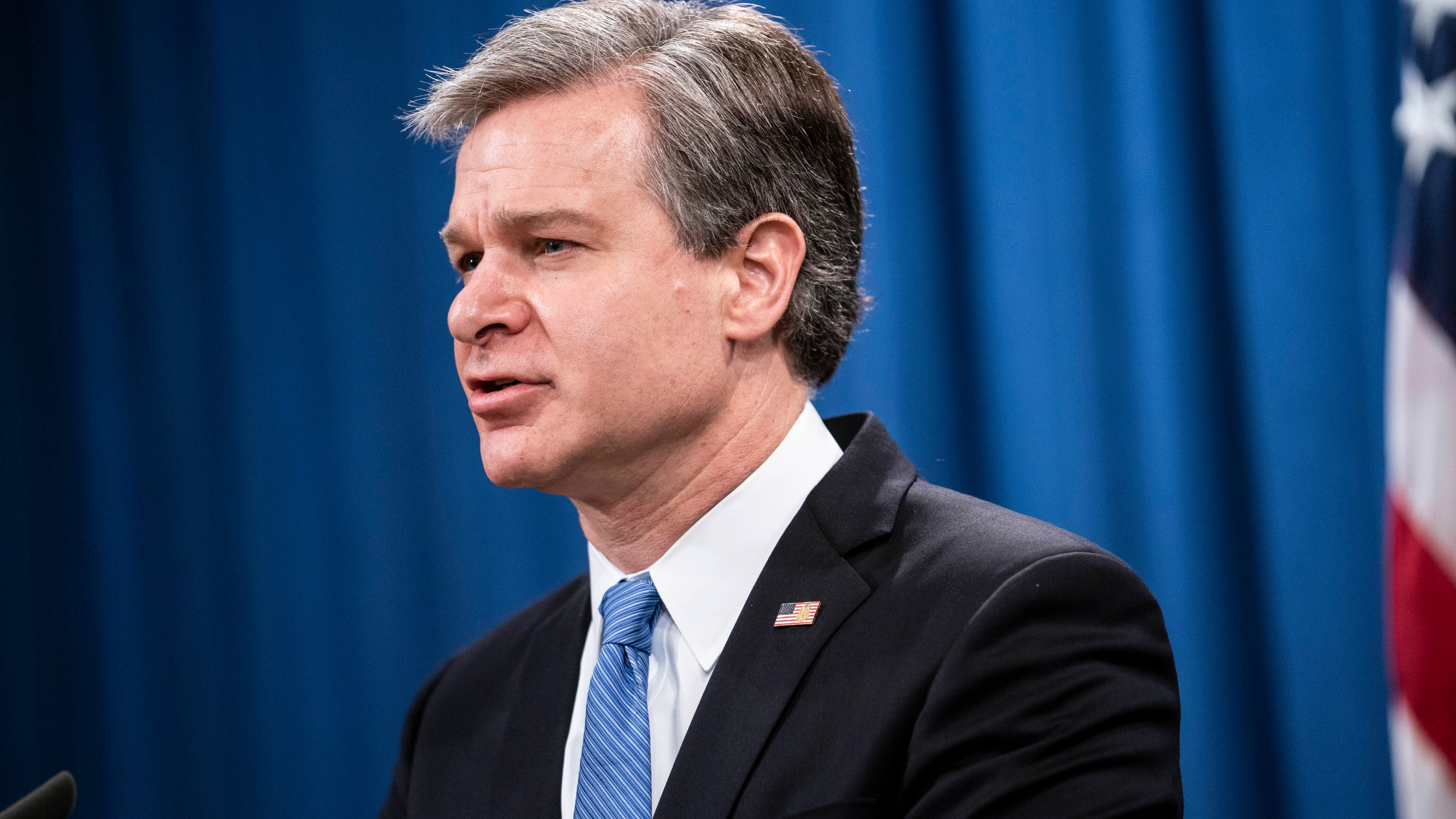 In this Oct. 28, 2020, file photo, FBI Director Christopher Wray speaks during a virtual news conference at the Department of Justice in Washington. (Sarah Silbiger/Pool via AP)