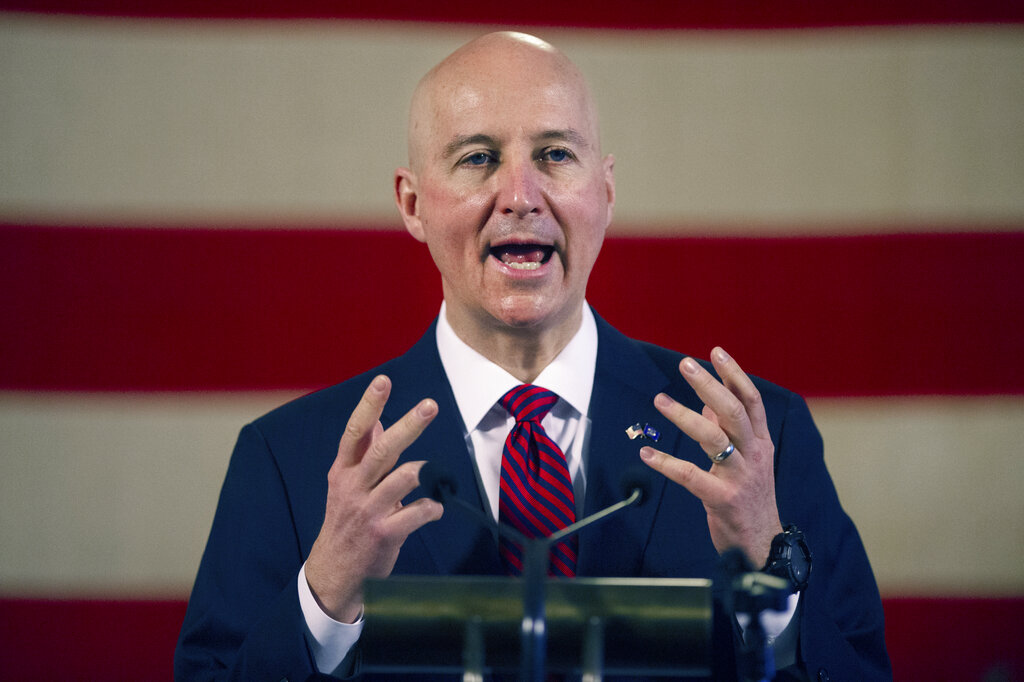 In this Feb. 26, 2021 file photo, Nebraska Governor Pete Ricketts speaks during a news conference at the Nebraska State Capitol in Lincoln, Neb. (Kenneth Ferriera/Lincoln Journal Star via AP)