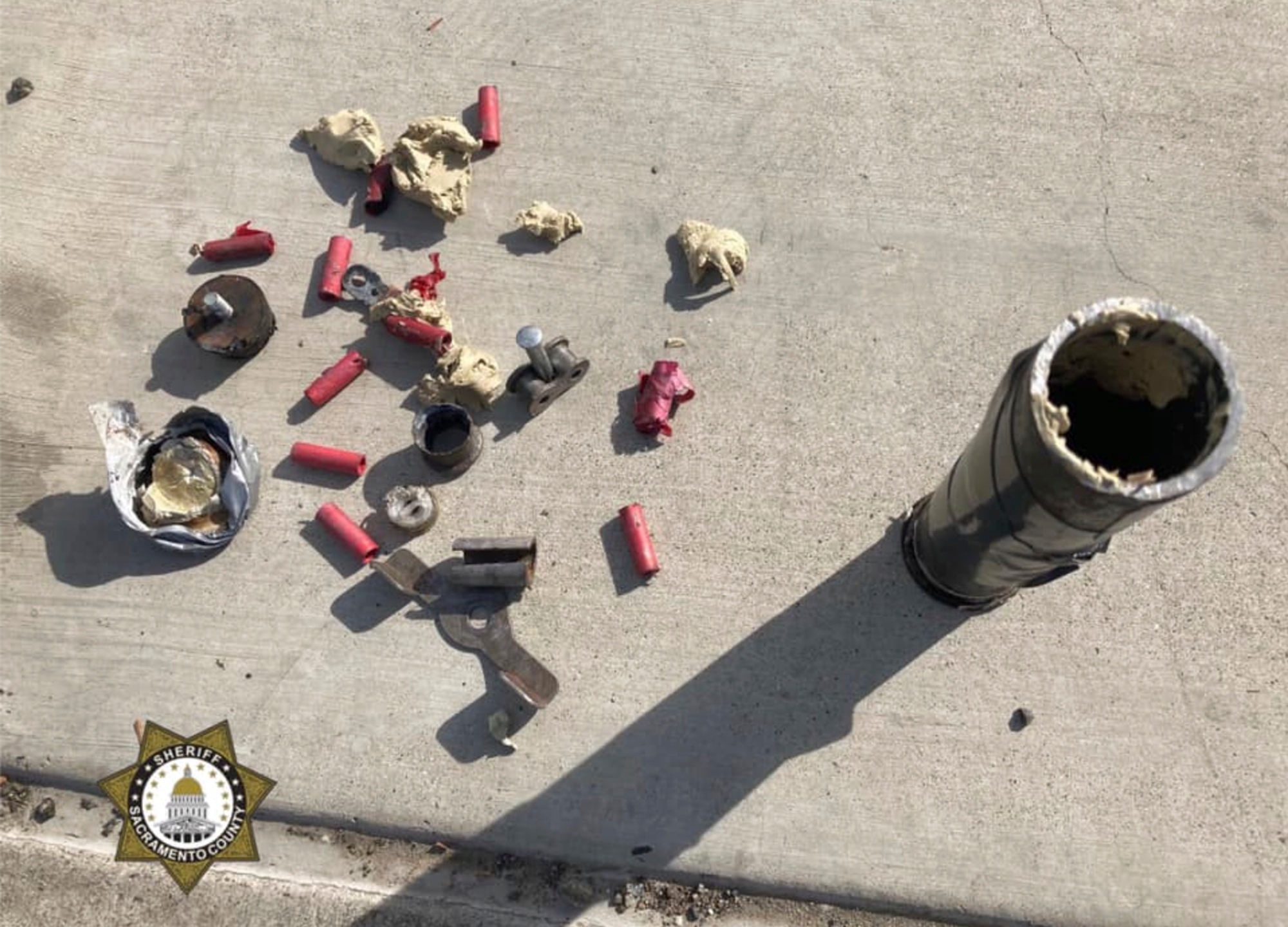 This photo provided by the Sacramento County Sheriff's Office shows materials found March 2, 2021, on the sidewalk outside of Ethel Baker Elementary School in Sacramento. (File)