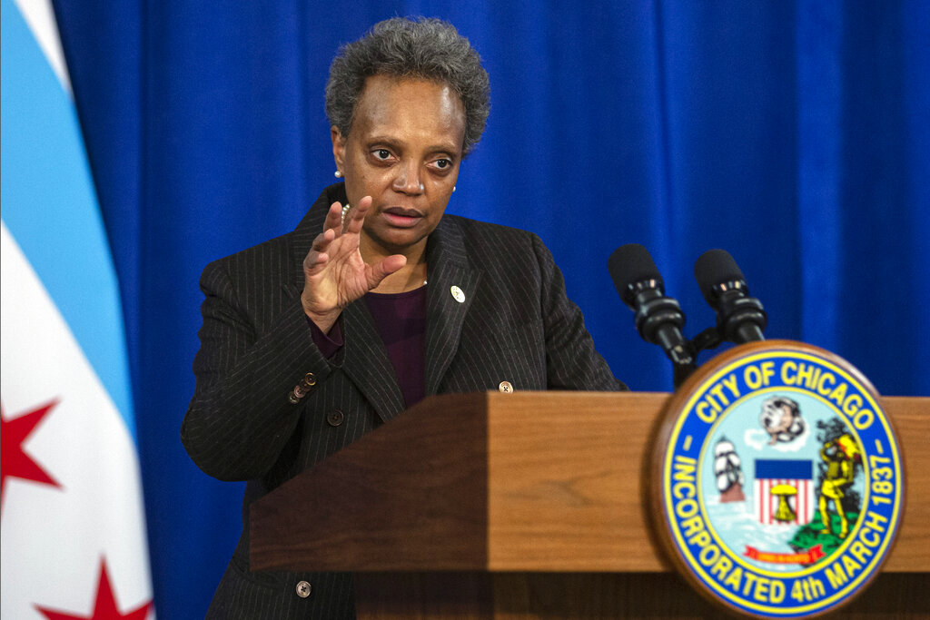 In this Dec. 17, 2020, file photo, Chicago Mayor Lori Lightfoot speaks during a news conference at City Hall in Chicago. (Anthony Vazquez/Chicago Sun-Times via AP, File)