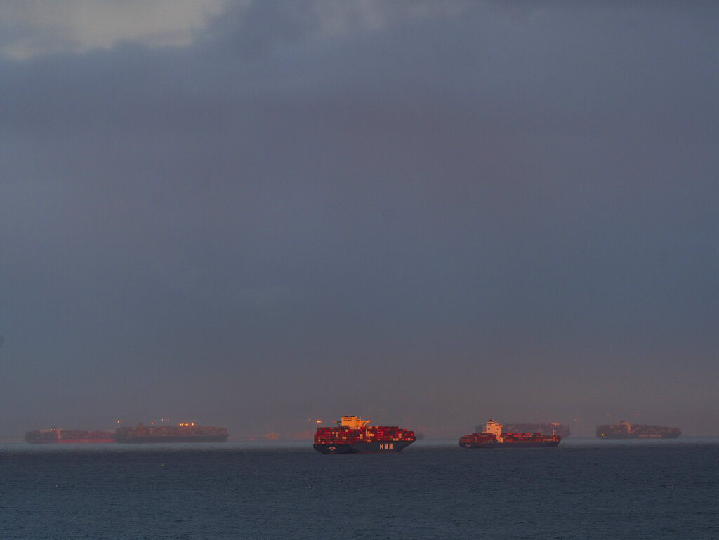 In this Wednesday, March 3, 2021 photo, a high number of container ships dot the coast of Long Beach at sunset waiting to dock at the Ports of Los Angeles and Long Beach off the California Coast. ( AP Photo/Damian Dovarganes)