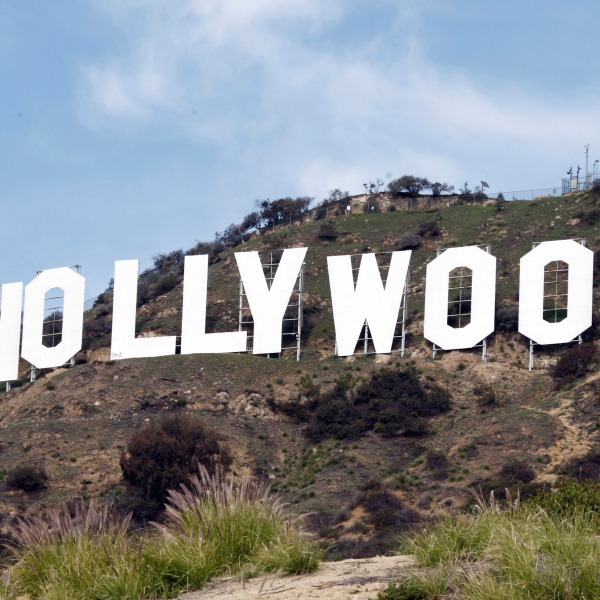 The Hollywood sign appears near the top of Beachwood Canyon adjacent to Griffith Park in the Hollywood Hills of Los Angeles on Jan. 29, 2010. (Reed Saxon/Associated Press)