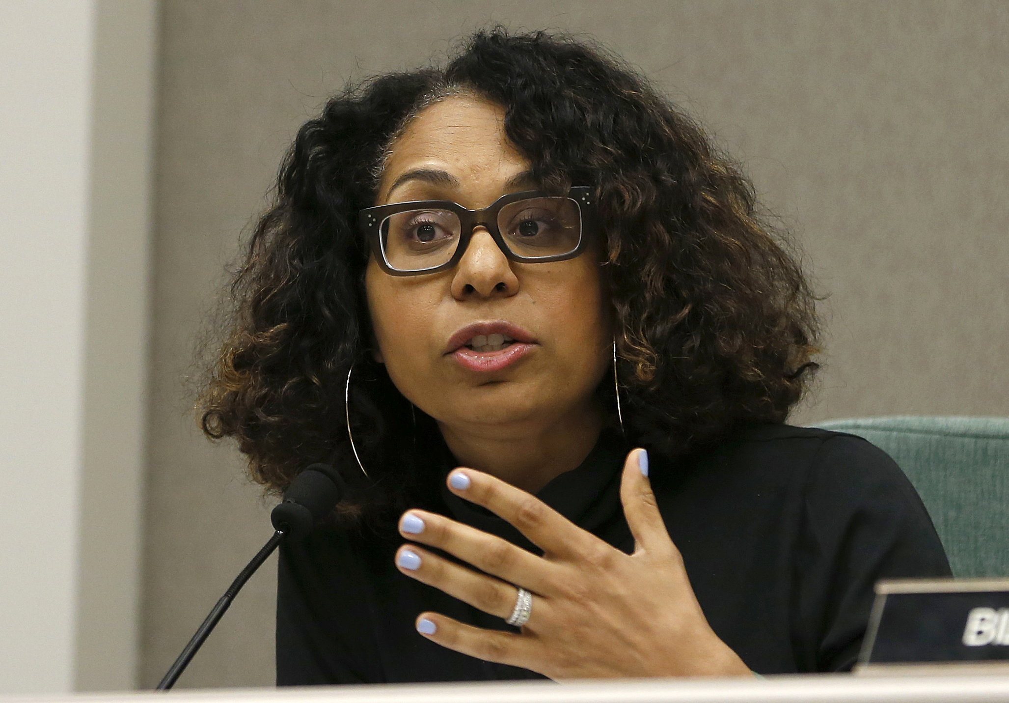 In this April 9, 2019, file photo, Assemblywoman Sydney Kamlager D-Los Angeles, a member of the Assembly Public Safety Committee, gestures during a hearing in Sacramento, Calif. (AP Photo/Rich Pedroncelli, File)