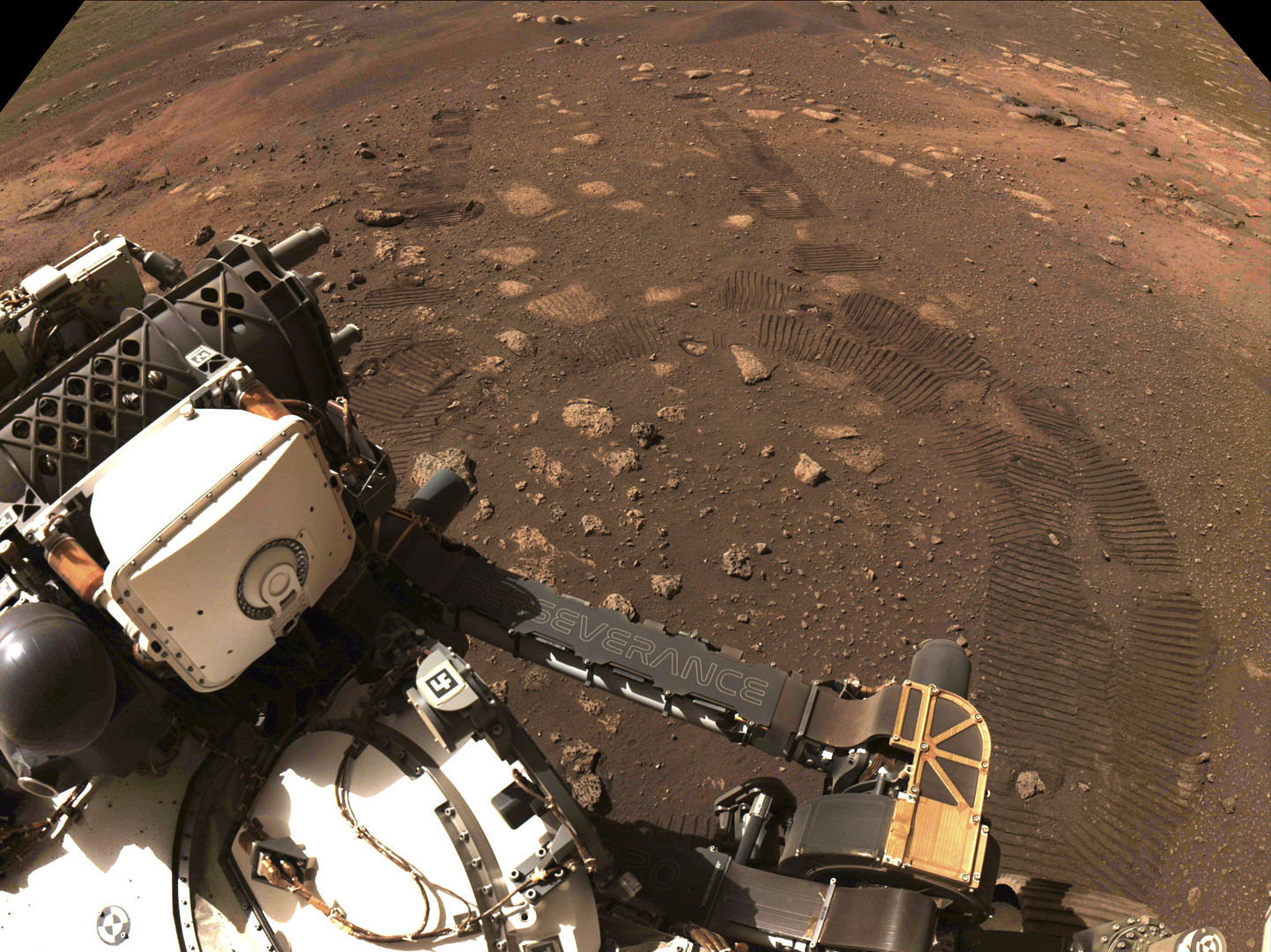 This March 4, 2021 file photo made available by NASA was taken during the first drive of the Perseverance rover on Mars. (NASA/JPL-Caltech via AP, File)
