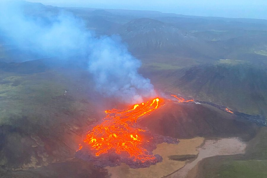 This image provided by the Icelandic Coast Guard shows a volcano on the Reykjanes Peninsula in southwestern Iceland on March 20, 2021. (Icelandic Coast Guard via AP)