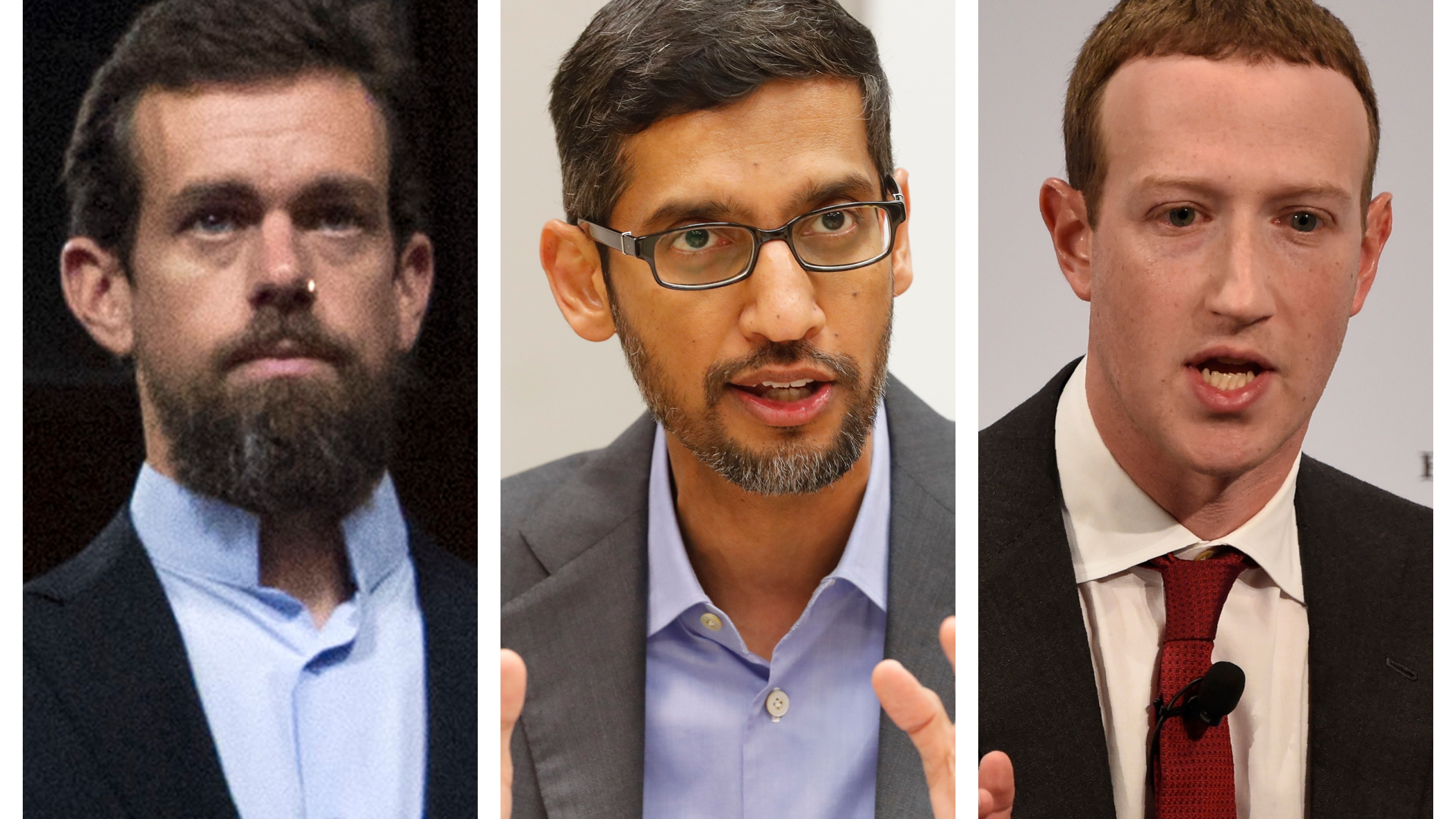 This combination of 2018-2020 photos shows, from left, Twitter CEO Jack Dorsey, Google CEO Sundar Pichai, and Facebook CEO Mark Zuckerberg. (AP Photo/Jose Luis Magana, LM Otero, Jens Meyer)