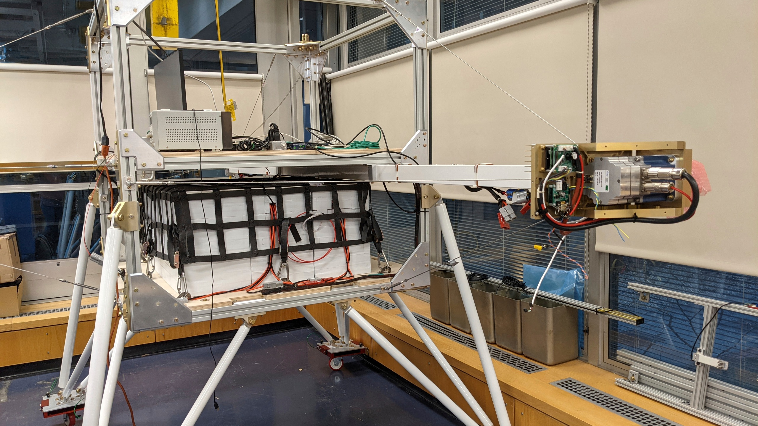 This March 2021 photo provided by researcher Yomay Shyur shows a gondola at a Harvard University facility in Cambridge, Mass., which will be tested on a balloon over Sweden for eventual possible use in releasing sunlight-reflecting aerosols into the Earth's atmosphere. On Thursday, March 25, 2021, the National Academy of Sciences said the U.S. must seriously consider the idea of tinkering with the atmosphere to cool a warming Earth and accelerate research into how and whether humanity should hack the planet. (Yomay Shyur via AP)