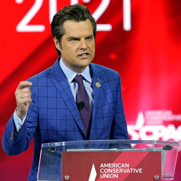 Rep. Matt Gaetz, R-Fla., speaks at the Conservative Political Action Conference (CPAC) in Orlando, Fla., on Feb. 26, 2021. (John Raoux / Associated Press)