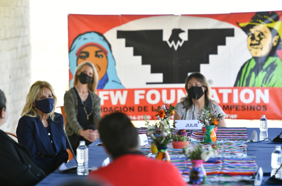 First lady Jill Biden speaks to farm workers at The Forty Acres, the first headquarters of the United Farm Workers labor union, in Delano, Calif., on March 31, 2021. (Mandel Ngan/Pool via AP)