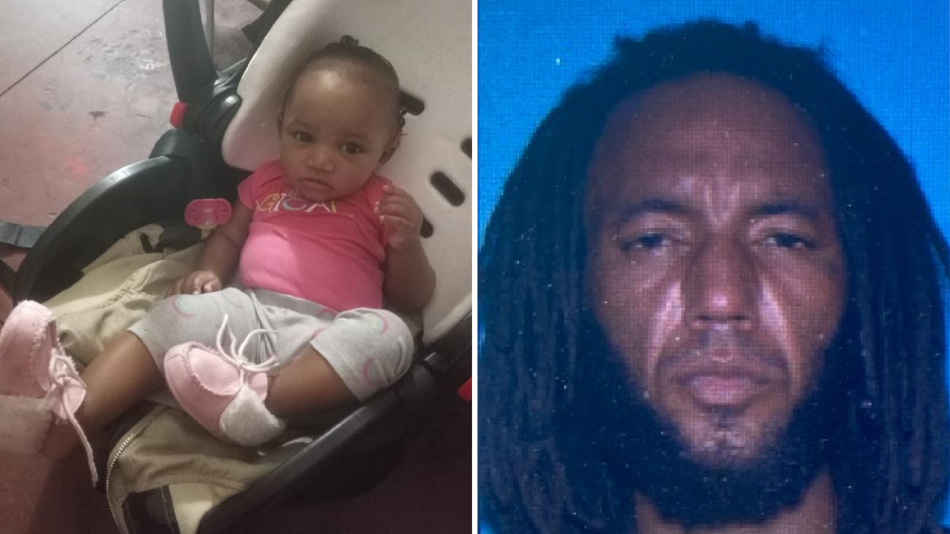Eleven-month-old Heather and a man suspected of taking her, 39-year-old Delaneo Adams, are seen in undated photos provided by the Los Angeles Police Department on March 8, 2021.