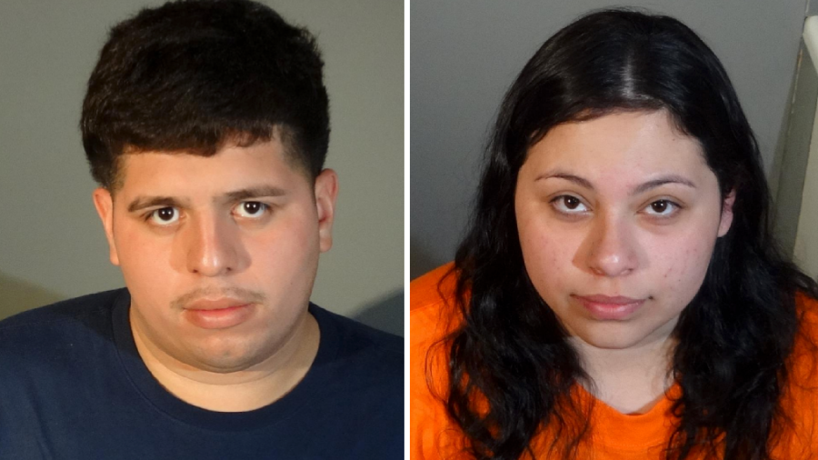 Andres Renderos, 23, and Rachael Sandoval, 20, are seen in booking photos shared by the Redondo Beach Police Department on March 12, 2021.