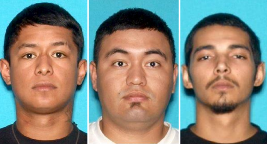 Anthony Andrade, Julio Villalta-Maravilla and Isaac Anthony Guerra are seen in undated photos released by the San Bernardino Police Department on March 14, 2021.