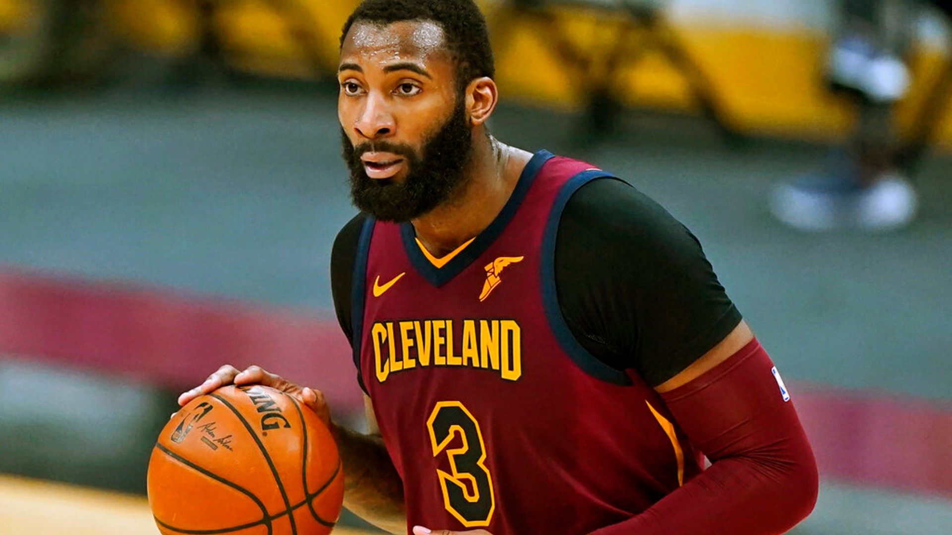 In this Feb 5, 2021, file photo, Cleveland Cavaliers' Andre Drummond drives the second half of an NBA basketball game against the Milwaukee Bucks in Cleveland. (AP Photo/Tony Dejak, File)