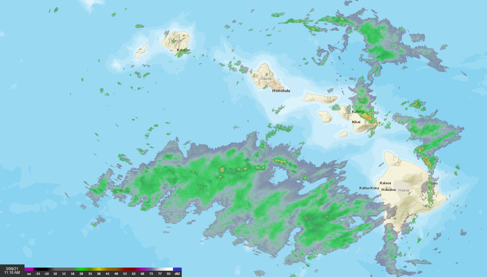 The National Weather Service issued a flash flood watch for all Hawaiian Islands on March 8, 2021 to last until the next night as an upper level disturbance interacts with tropical moisture moving in from the south and east. (The National Weather Service)