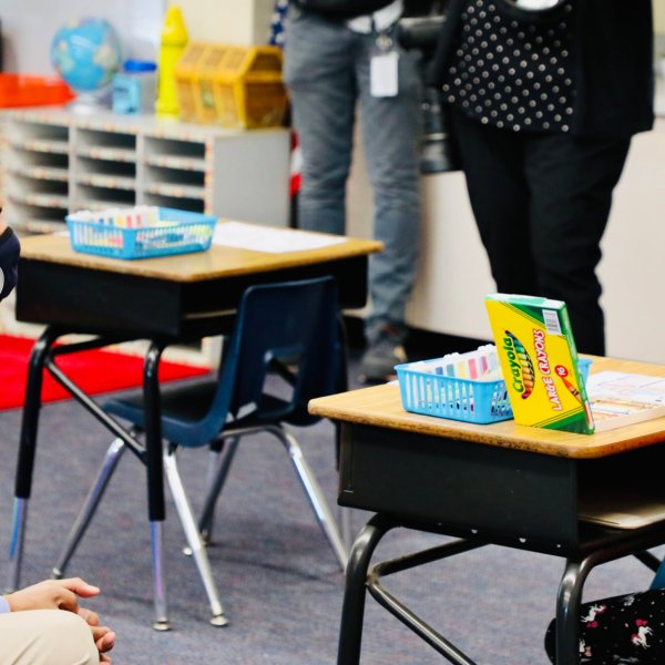 On March 29, 2021, Long Beach Mayor Robert Garcia posted this photo to Twitter after he visited an elementary school on the first day of in-person instruction.