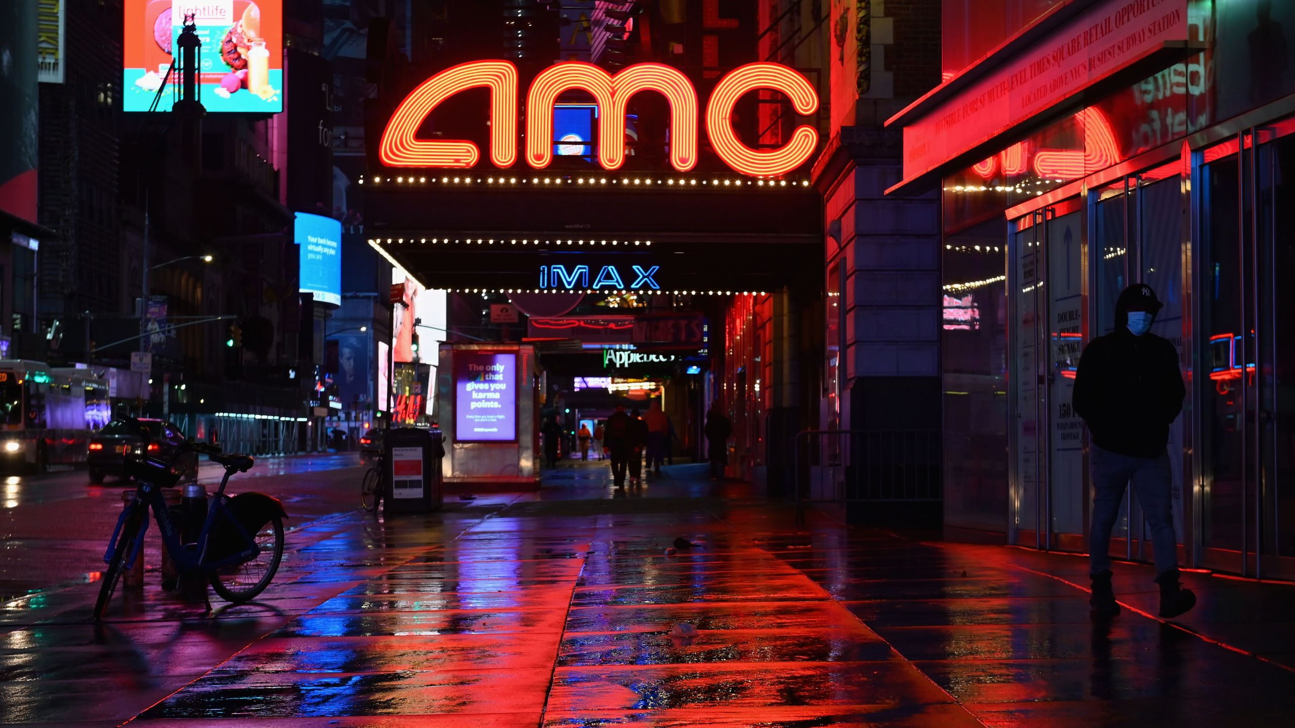 View of a closed AMC movie theater near Time Square on Oct. 12, 2020 in New York City.(ANGELA WEISS/AFP via Getty Images)