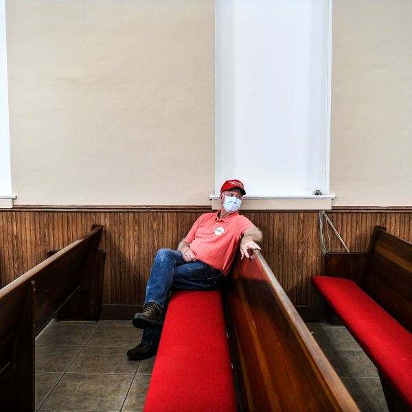 A Supporter of Republican party wears a facemask as he attends a meeting of the local Republican party at Winston County courthouse in Double Springs, Alabama on Oct. 12, 2020. (CHANDAN KHANNA/AFP via Getty Images)