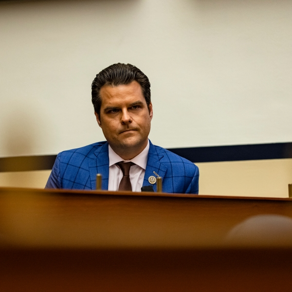 Rep. Matt Gaetz (R-FL) is seen during a House Armed Services Subcommittee hearing with members of the Fort Hood Independent Review Committee on Capitol Hill on Dec. 9, 2020. (Samuel Corum / Getty Images)