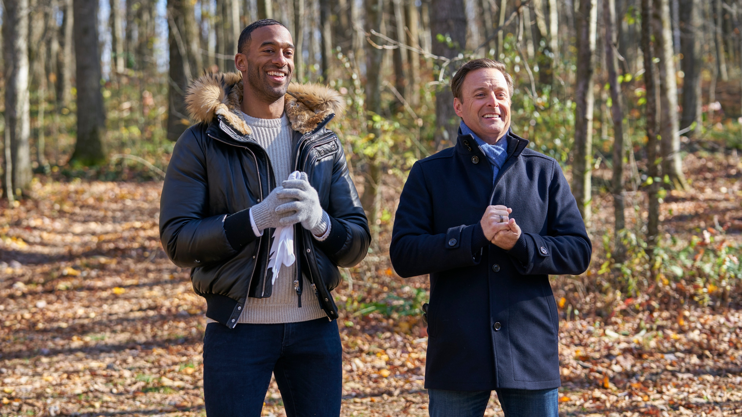 """""""The Bachelor"""" star Matt James, left, and host Chris Harrison are seen in an undated photo. (Craig Sjodin via Getty Images)"""
