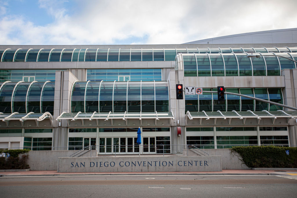 The area around San Diego Convention Center is normally packed with visitors during Comic-Con week, but instead are empty on July 22, 2020, in San Diego, California. (Photo by Daniel Knighton/Getty Images)