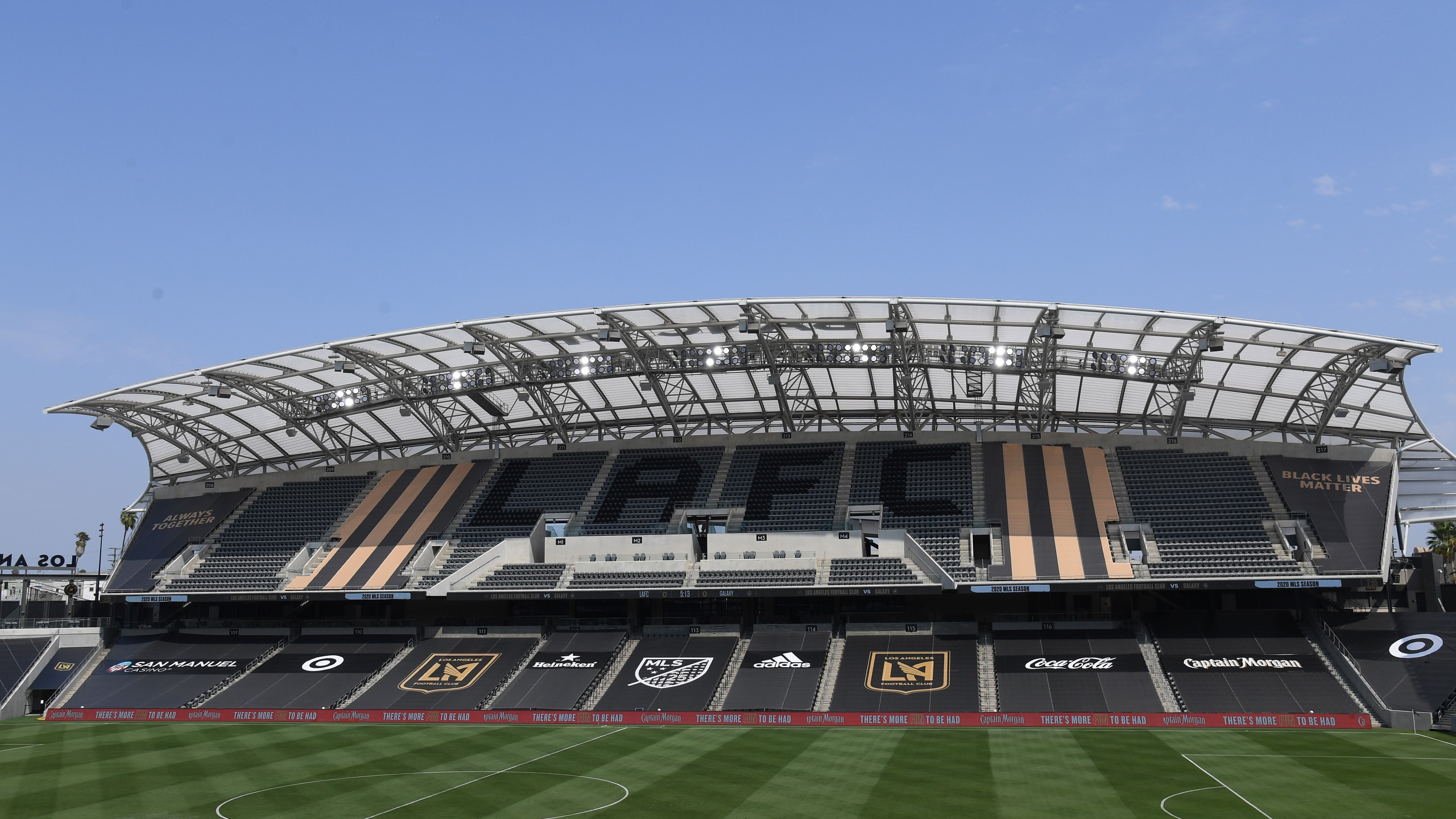 General view before a game between the Los Angeles Galaxy and the Los Angeles FC at Banc of California Stadium on Aug. 22, 2020. (Harry How/Getty Images)