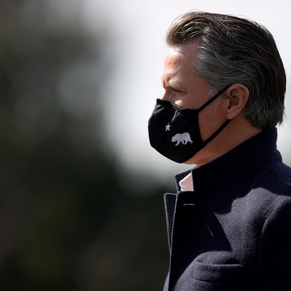 California Gov. Gavin Newsom looks on during a news conference after touring Barron Park Elementary School on March 2, 2021 ,in Palo Alto, California. (Justin Sullivan/Getty Images)