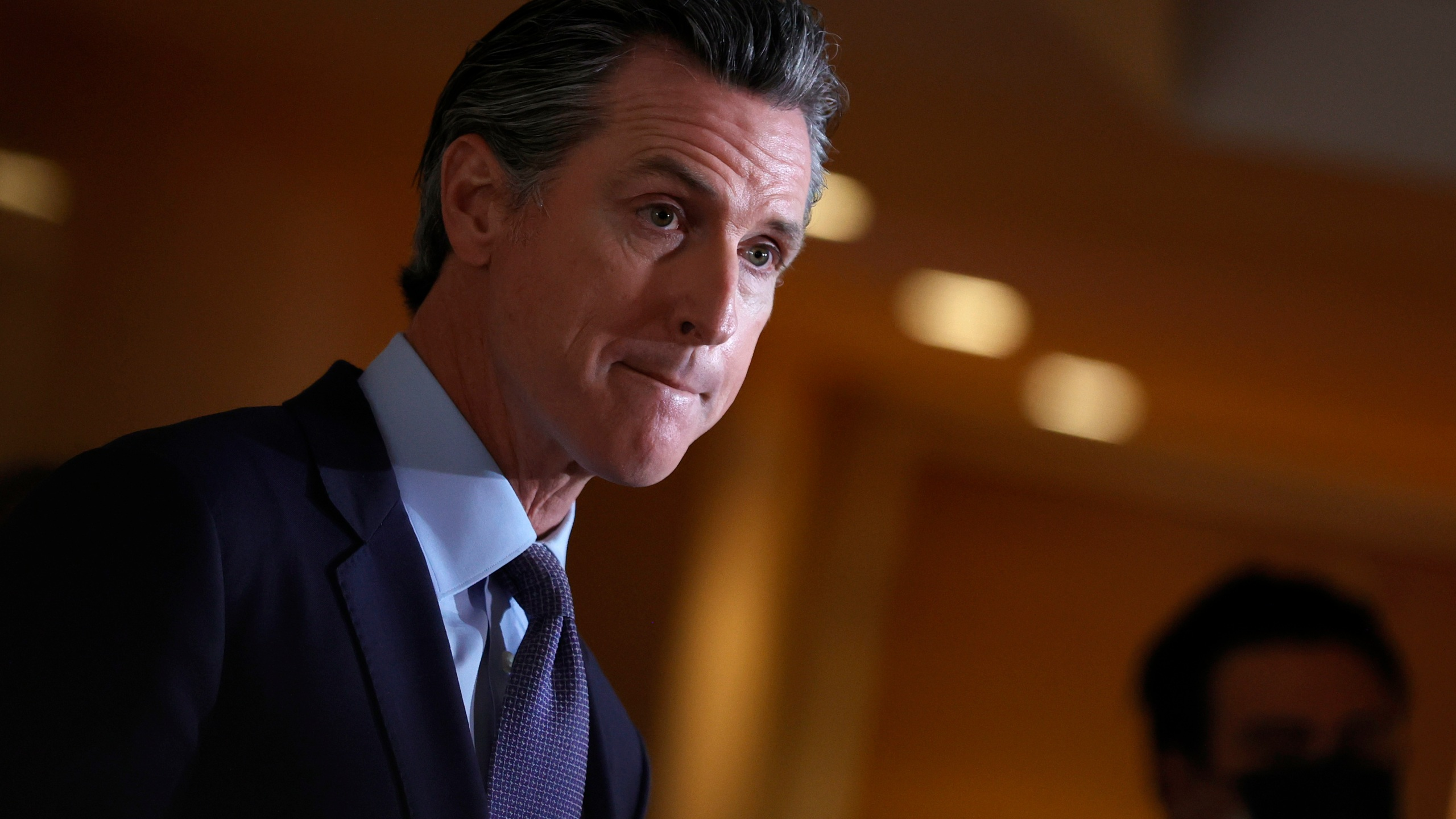 California Gov. Gavin Newsom speaks during a news conference with Bay Area AAPI leaders at the Chinese Culture Center of San Francisco on March 19, 2021. (Justin Sullivan / Getty Images)
