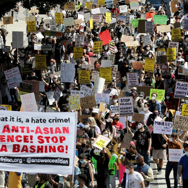 People march against anti-Asian violence and racism on March 27, 2021 in Los Angeles, California. (Mario Tama/Getty Images)