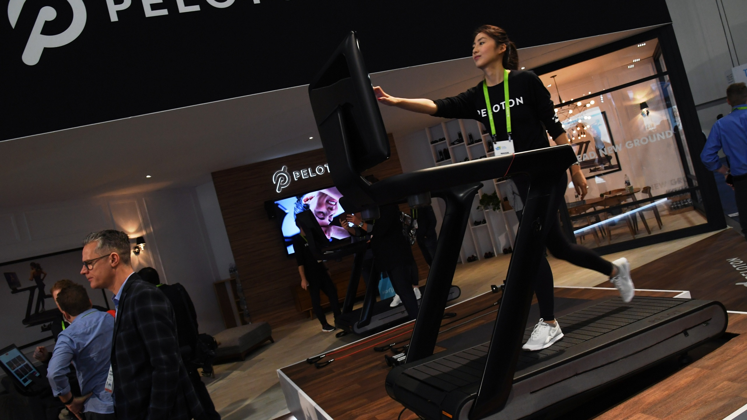 A Peloton Tread treadmill is seen at the Las Vegas Convention Center on Jan. 11, 2018 in Nevada. (Ethan Miller/Getty Images)