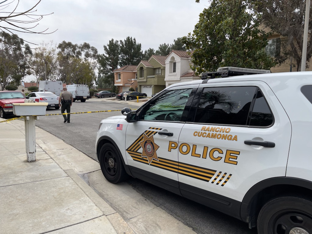 Rancho Cucamonga Police respond to a scene on March 7, 2021.