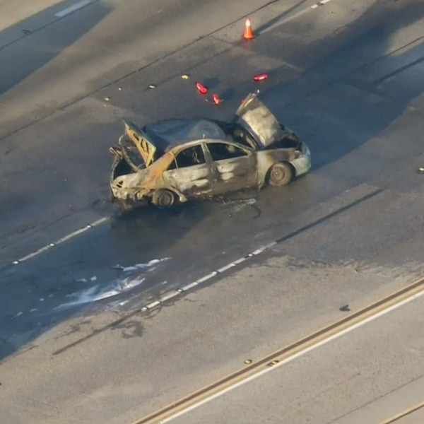At least one person died in a fiery crash on the 60 Freeway in the Hacienda Heights area March 4, 2021. (KTLA)