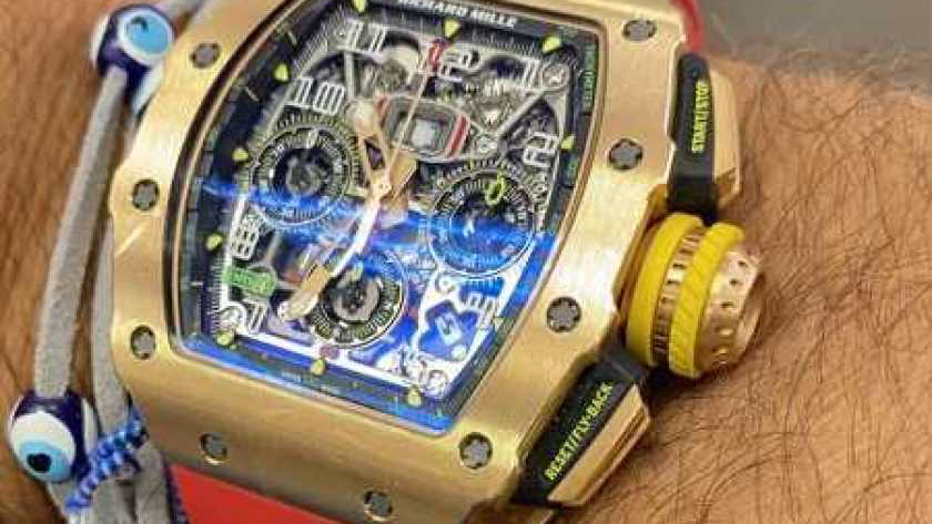 Robbers took Shay Belhassen's rose gold Richard Mille RM 11-03 Flyback Chronograph watch during a robbery and shooting in Beverly Hills on March 4, 2021. (Shay Belhassen via Los Angeles Times)