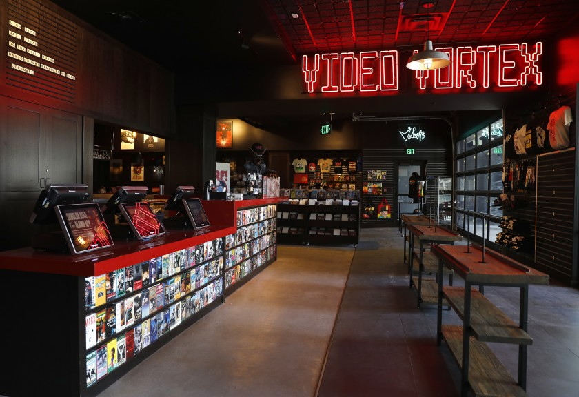 The entry lobby of the new Alamo Drafthouse L.A. in downtown Los Angeles.(Christina House / Los Angeles Times)