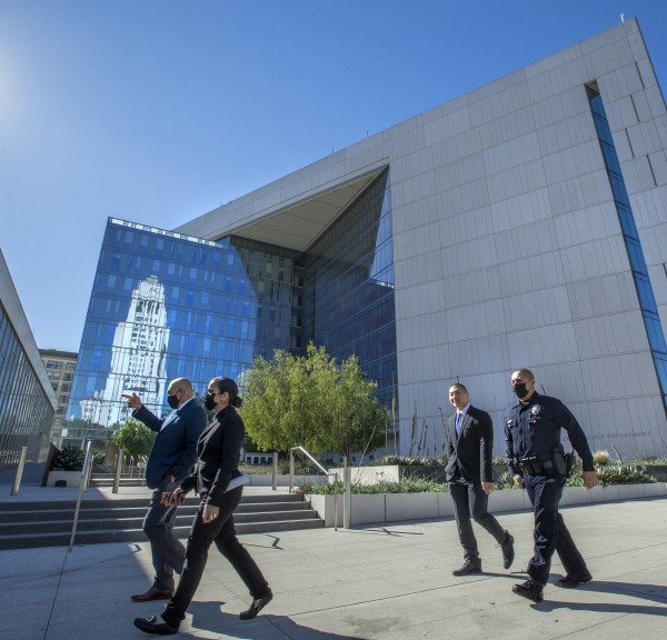 LAPD officials walk past the agency's headquarters in downtown Los Angeles in this undated photo. (Mel Melcon / Los Angeles Times)