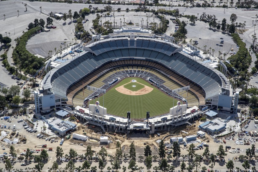 An aerial view of Dodger Stadium on March 25, 2020. After a year without fans, thousands will be allowed to attend the Dodgers' season opener on April 9.(Robert Gauthier / Los Angeles Times)