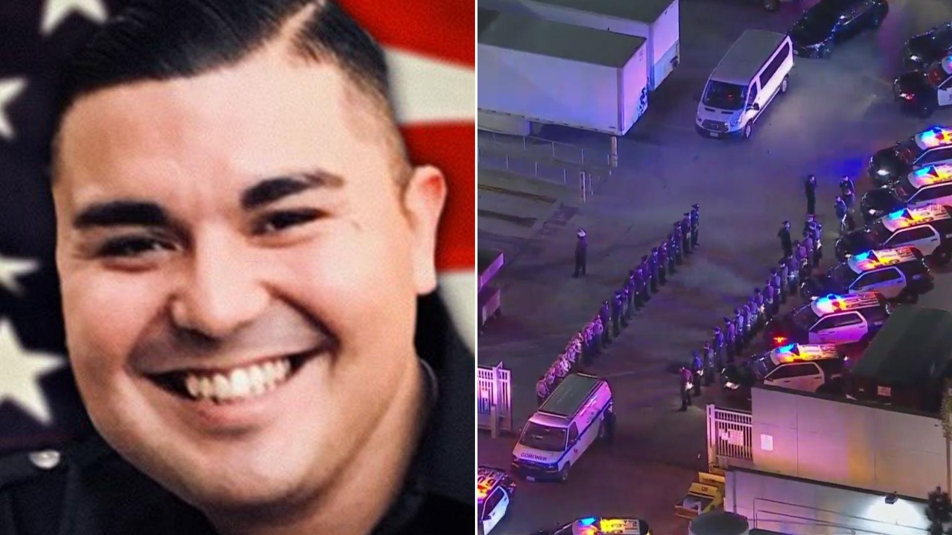 Officer Jose Anzora is seen at left in an undated photo released by the Los Angeles Police Department. At right, LAPD officers line up for a procession outside the L.A. County+USC Medical Center on March 3, 2021, following Anzora's death. (KTLA)