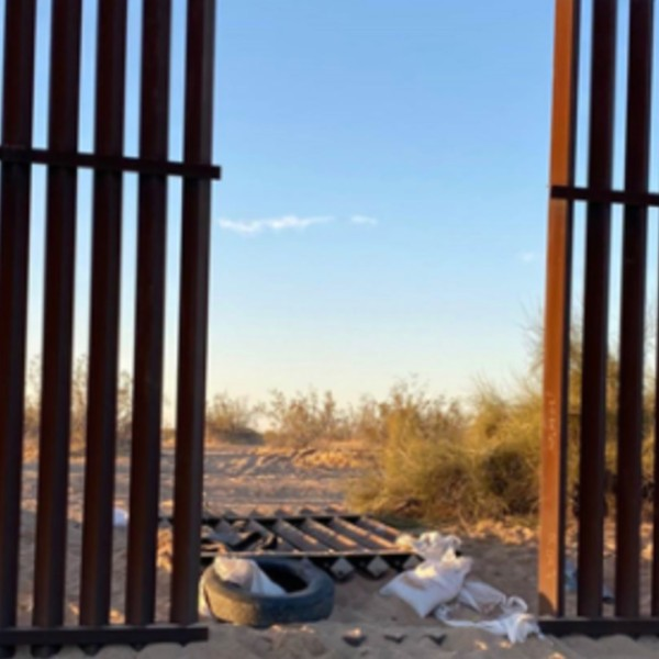 The Border Patrol released this photo of the breach in the border fence where an SUV with 25 people in it may have entered into the U.S. shortly before a crash in Imperial County that let 15 people dead on March 2, 2021.