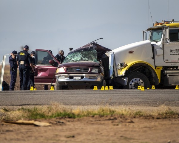 Twenty-five people were crammed into the Ford Expedition when it collided with a big rig in Imperial County on March 2, 2021. (Gina Ferazzi/ Los Angeles Times)
