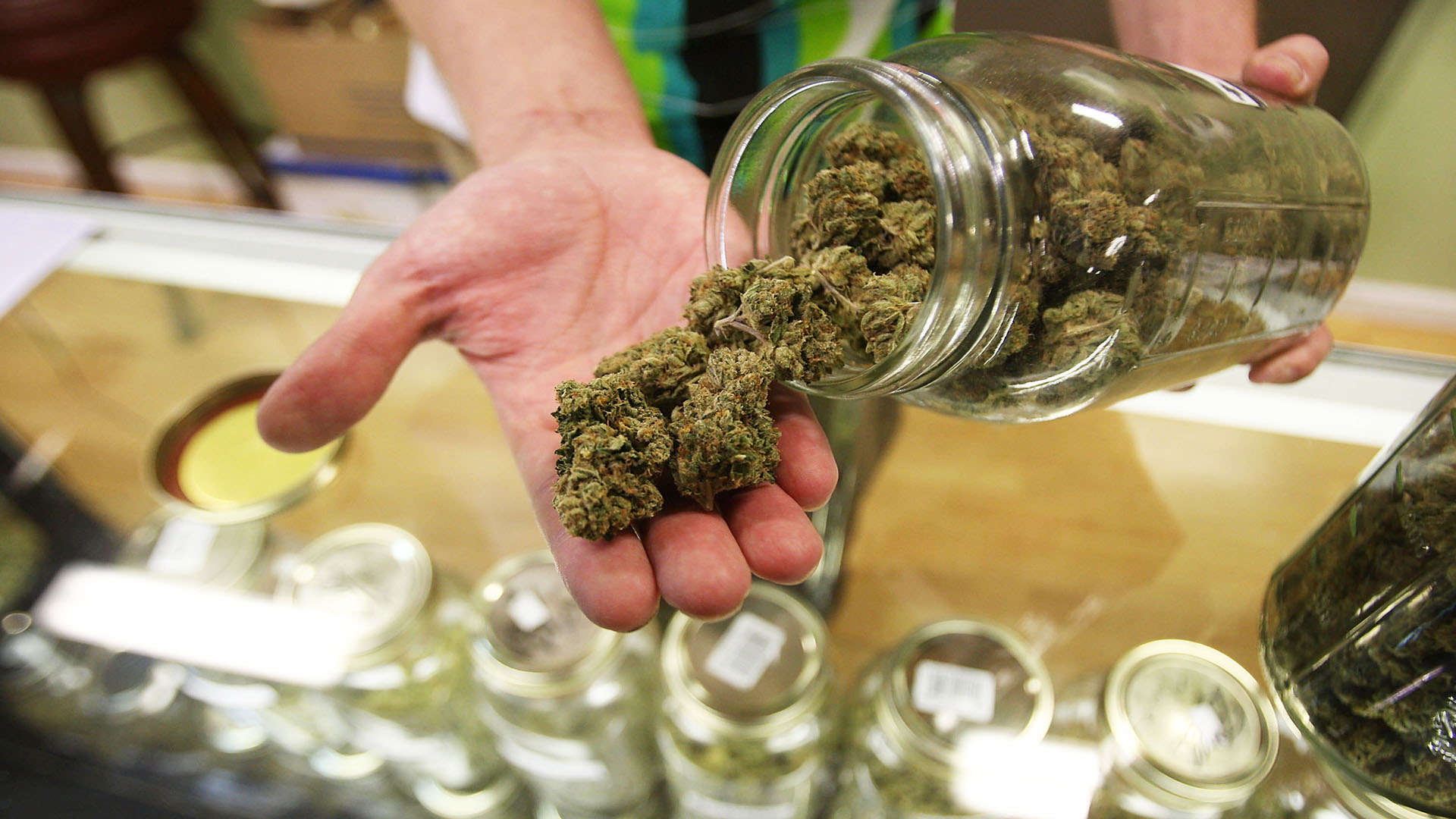 This undated file photo shows cannabis at a dispensary. (Getty Images)
