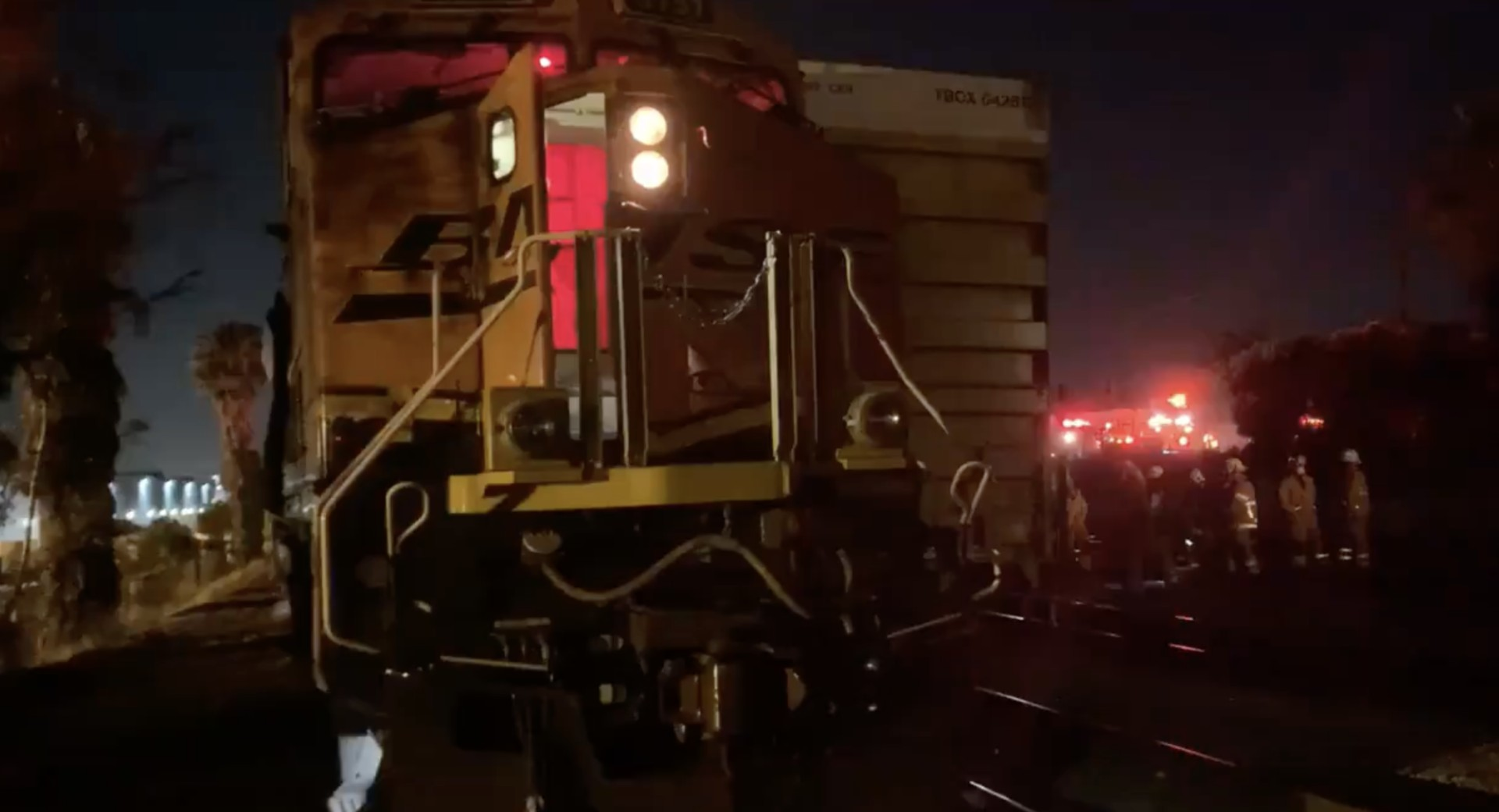 An investigation is underway after a railway worker was crushed between two trains in Buena Park on March 3, 2021. (Orange County Fire Authority)