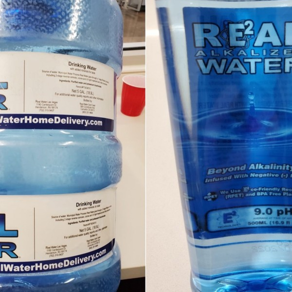 """The FDA released these photos of bottles of """"Real Water"""" brand water."""
