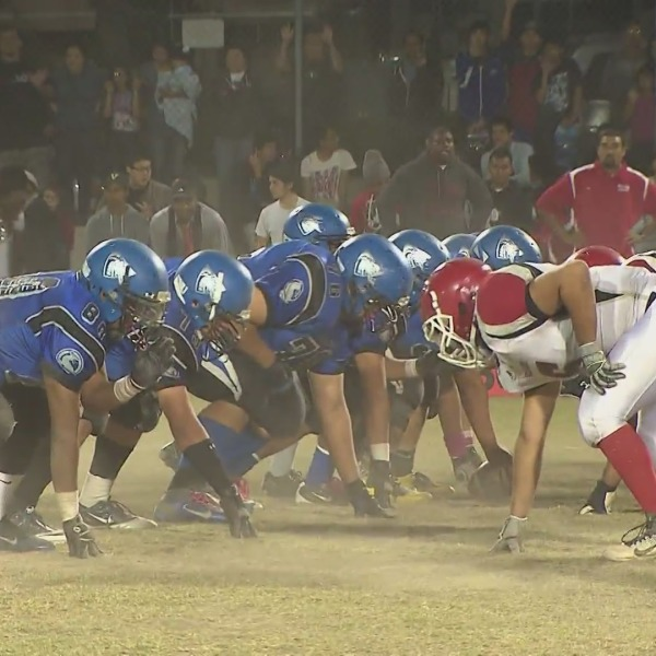A high school football game is seen in this file image taken from video. (KTLA)